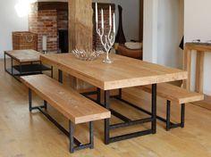 Mesas comedor madera - mesa comedor hierro forjado