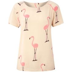 Vero Moda Short sleeve flamingo print top found on Polyvore featuring polyvore, women's fashion, clothing, tops, blouses, pink top, pink blouse, short sleeve blouse, short sleeve tops and woven top