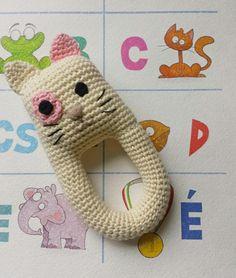 Baby rattle Crochet rattle Baby teether Cat rattle Teething