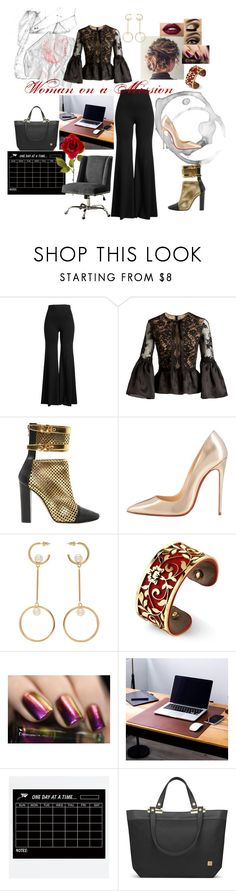 """""""Woman on a Mission"""" by kern8-13 ❤ liked on Polyvore featuring Rosetta Getty, Marchesa, Balmain, Christian Louboutin, Chloé, Belk Silverworks, Urban Decay, Moshi and Linon"""