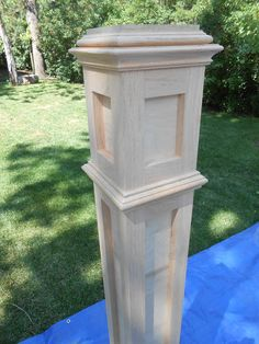 I have always admired old custom built newel posts, they have always stood out to me in all of the old houses I have been in over the years. They represented craftsmanship that does not exist in to… Oak Newel Post, Stair Newel Post, Stair Posts, Newel Posts, Wrought Iron Stair Railing, Stair Banister, Deck Stairs, Basement Stairs, Railings