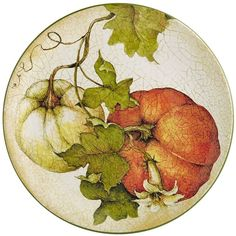 Harvest Garden Salad Plate click the image for more details. Fall Canvas Painting, Fruit Painting, China Painting, Vegetable Painting, Church Pictures, Painted Plates, Fruit Art, Autumn Art, Contemporary Ceramics