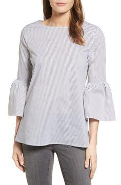 SALE ALERT // navy white striped bell sleeve top w…