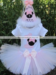 Light pink and white Minnie Tutu Set  Includes by bloomnbows
