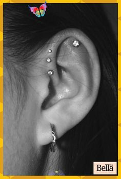 Ear Piercing For Women, Pretty Ear Piercings, Ear Peircings, Daith Piercing, Triple Forward Helix Piercing, Tongue Piercings, Double Helix, Mens Piercings, Forward Helix Earrings