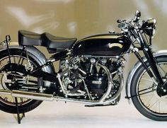 """Hunter S. Thompson:""""if you rode the Black Shadow at top speed for any length of time, you would almost certainly die."""" The 50-degree V-twin was completely baked in black enamel and produced enough grunt to reach 125 MPH. Extensive aluminum throughout, and its motor hung from the cross-bar, acting as a stressed member, kept weight down to 450 pounds. Innovative front forks, 4 speed transmission and finned brakes front and rear rounded out a package regarded as the world's first superbike."""