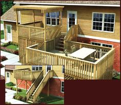 Project Plan 90006: Modular Split-Level Deck Enjoy the outdoors on two levels, in sun or shaded. This spacious #deck even offers the option of a serving bar to enhance #entertaining. Stair & Railing, Optional Trellis & Serving Bar Plans Included | 10'x14' Upper & 10'x16' Lower Decks