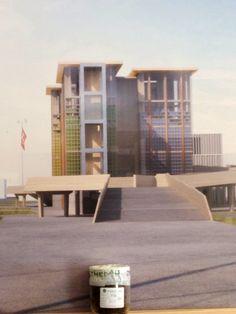 Rendering del padiglione svizzero e campione di terra dove verrà costruito.