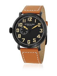 "Stuhrling Original Men's ""Octane Monterey"" Stainless Steel Watch with Brown Leather Band Left Handed Watch, Cool Watches, Watches For Men, Wrist Watches, Online Watch Store, Hand Watch, Stainless Steel Watch, Quartz Watch, Brown Leather"