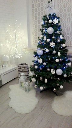Christmas Tree, Design, White and Silver Decoration, Lights