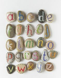 Paint rocks and add magnets for fridge. Nicer alternative to those plastic letters for kids. cute!