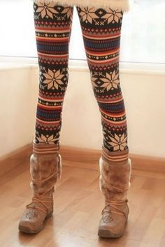 Chic Stripes with Snowflake Leggings $22.00