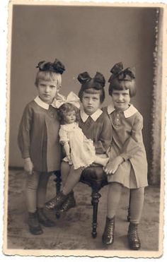 3 Sisters with Huge Doll Latvia Photo 1937 | eBay