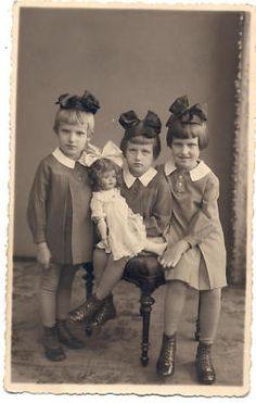3 Sisters with Huge Doll Latvia Photo 1937 | eBay