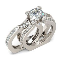 Romantic Heart Design Two-in-One 1.9 CT Cushion Cut  Created White Sapphire Rhodium Plating Sterling Silver Women's Ring