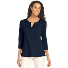 charter club Embroidered Tunic Navy Blue top