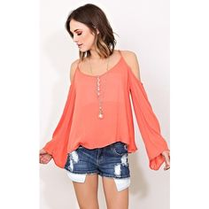 Rising Sun Woven Cold Shoulder Top ($17) ❤ liked on Polyvore featuring tops, coral, cut out shoulder tops, scoop neck top, red scoop neck top, woven top and cut-out shoulder tops