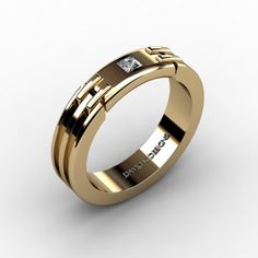 Mens Classic 14K Yellow Gold 012 Ct Princess от DavidKDesigns
