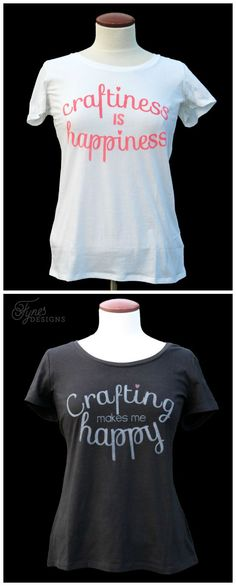 FREE cutfiles for these fun crafting shirts plus a great tutorial How To Use Fabric Paint #Silhouette