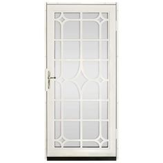 Unique Home Designs 36 in. x 80 in. Lexington Almond Surface Mount Steel Security Door with Shatter-Resistant Glass and Nickel Hardware - - The Home Depot Interior Storm Windows, Interior Railings, Stylish Home Decor, Unique Home Decor, Steel Security Doors, Security Screen, Window Bars, Aluminum Screen, Unique House Design