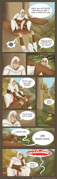 Altair is like a big child - he can't loose, really. Too bad he's got tools to manage to achieve that xD Me and ~garnet-lynx are fooling with poor Alty here. I know it's shitty comic but I draw the...