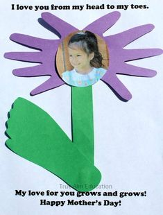 Mother's Day Craft: Flower Hand and Foot Print Card with a Free printable poem