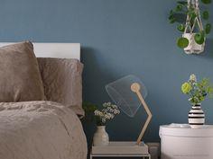 Wandfarbe Blau im Schlafzimmer.