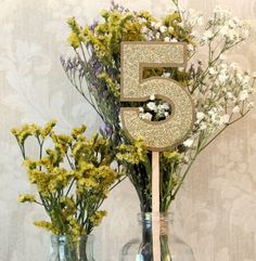 Unique Wedding Table Numbers - Vase Number Sticks - Rustic Chic, Vintage-Inspired - Kraft Coverstock & Shimmery Gold/Silver Cardstock by JoBlake on Etsy https://www.etsy.com/listing/171709327/unique-wedding-table-numbers-vase-number
