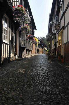 Cobblestone street in Ledbury, England