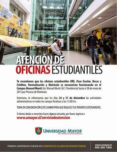 Comunidad UMayor: hasta el 30 de Enero estaremos en Manuel Montt. Comparte este dato con tus compañeros ;)         Universidad Mayor: Google+