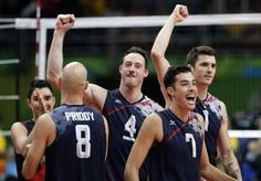 US men's volleyball reaches Rio semis with fourth straight win:  August 17, 2016  -    United States' Kawika Shoji (7), celebrates with teammates Matthew Anderson (1), David Lee (4), and William Reid Priddy (8) after defeating Poland in a men's quarterfinal volleyball match at the 2016 Summer Olympics in Rio de Janeiro, Brazil, Wednesday, Aug. 17, 2016.