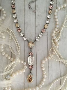 Long Lariat Style Crystal Necklace, Clear Crystal Layering Necklace, Swarovski Crystal Tennis Necklace, Rhinestone Necklace, Plunging Necklace, Y shaped Necklace, Long Layering Necklace, Extended Length, Blush Bridal Jewelry Stead Fast in ALWAYS Standing out from the Crowd and