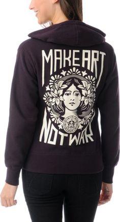 #Obey Make Art Not War #Blackberry Zip-Up #Hoodie #Sweatshirt #Zumiez