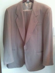 Issimo Suit Mens Taupe Italy 41L Virgin Lambs Wool Brown #Issimo #OneButton
