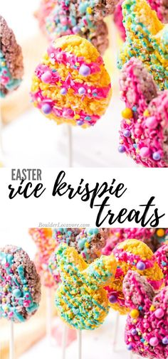 Easter Rice Krispie Treats are easy, fast and festive! Perfect for celebrating and gatherings. Marshmallow Peeps give them their great color! #easter #ricekrispietreats #easyrecipe #fastrecipe