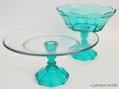 New Life for Thrift Finds: Use colorful vintage candlesticks and plates to make cake stands-a perfect Spring Hostess Gift- don't forget a freshly baked cake!