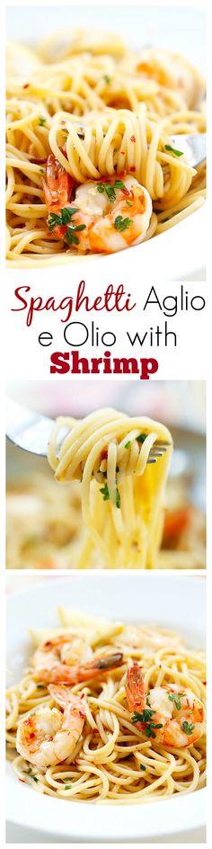 Spaghetti Aglio e Olio with Shrimp – super easy and delicious spaghetti with garlic, olive oil, shrimp and red pepper flakes. Amazing dinner for the family | rasamalaysia.com