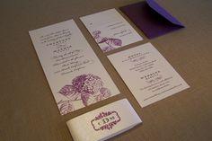Sample Purple Wedding Invitation - Elegant Hydranga Suite with Monogram. $5.00, via Etsy.