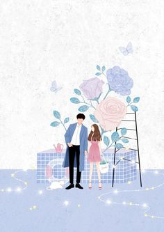 40 Ideas For Book Cover Design Nature Illustrations Couple Illustration, Illustration Art, Nature Illustrations, Stock Design, Cover Wattpad, Flower Quotes Love, Couple Painting, Cute Couple Art, Korean Art
