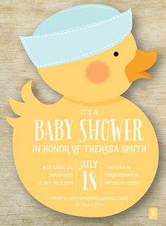 Custom Baby Shower Invitation, Boy Rubber Ducky Personalized Die Cut Baby Shower Invitation, Custom Invite for Baby Shower from our collection of Whimsical Stationery, Gifts and Party Decor. For Matching Party Decor be sure to checkout our custom listings under the Party Decor Section for matching Party Signs, Party Banners, Favor Tags/Stickers and Drink Flags. • 5 x 7 Die Cut Flat Card • Printed on 110 lb. linen cardstock • Printed full color two sides • Includes white envelopes ... Baby Favors, Baby Shower Favors, Baby Shower Cakes, Baby Shower Parties, Baby Shower Themes, Baby Shower Decorations, Shower Ideas, Ducky Baby Showers, Rubber Ducky Baby Shower