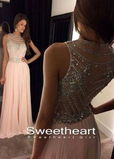 Light Pink Chiffon Sequin Long Prom Dresses, Formal Dresses,pink dress #prom #promdress #dress #formal #prom2k16