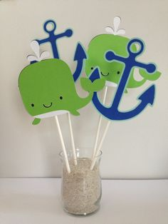 12 Blue and Lime Green Whale Cupcake Toppers by MiaSophias on Etsy