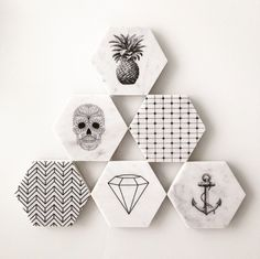Hexagonal marble coasters