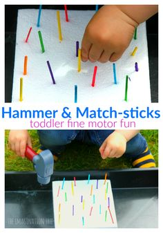 Have fun with this toddler fine motor skills activity using match-sticks, a toy hammer and a foam block! Great for inquisitive little hands who love to investigate tools and find out how things work and a great fine motor skills exercise too. My two year old really enjoys Bob the Builder and has a tool-kit...Read More »