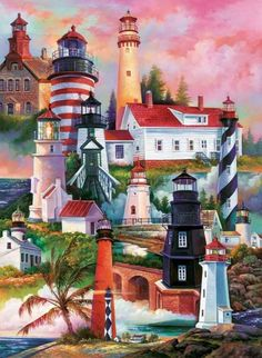 Bridge Playing Cards - Lighthouse artwork featured on the backs of the cards. One high quality deck of Bridge playing cards. Sunsout Puzzles, Lighthouse Painting, Lighthouse Pictures, Puzzle Art, Beacon Of Light, Cross Paintings, Beautiful Lights, Beautiful Sunset, Hobbies And Crafts