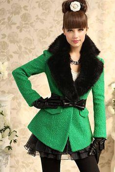 New Styel V Neck Long Sleeve Green Polyester Long Coat