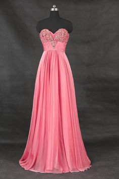 Coral Sweetheart Long Prom Dress/A Line Wedding Party Dress/Evening Dress/Simple Bridesmaid Dresses/Beading Prom Dresses 2016
