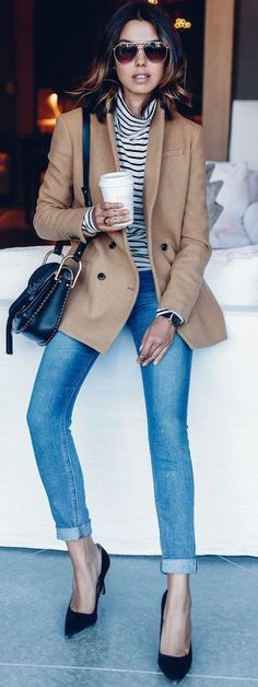 A Casual Chic Take On A Camel Blazer (Le Fashion) A chic and casual outfit on a camel blazer Casual Winter Outfits, Fall Outfits, Fashion Outfits, Womens Fashion, Fashion Trends, Style Fashion, Trendy Fashion, Blazer Fashion, Cheap Fashion
