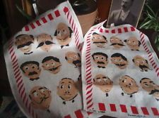 2 Vintage Barber Shop Irish Linen Towels French Mustaches Dunmoy