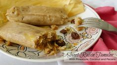 A traditional Mexican Christmas dessert of sweet tamales with raisins, pineapple, shredded coconut and pecan bits.